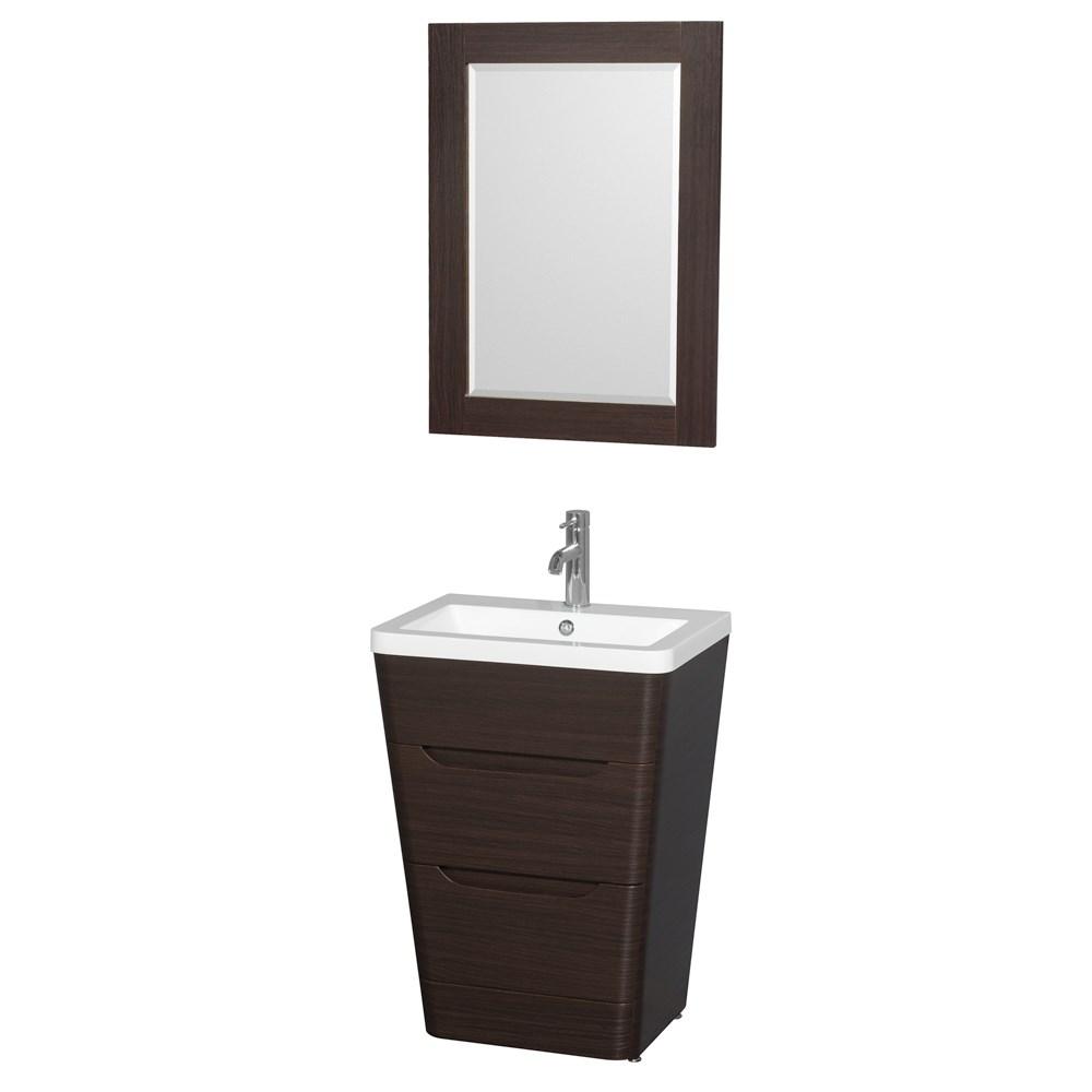 "Caprice 24"" Bathroom Pedestal Vanity Set with Integrated Sink by Wyndham Collection - Espressonohtin Sale $899.00 SKU: WC-7778-24-VAN-ESP :"