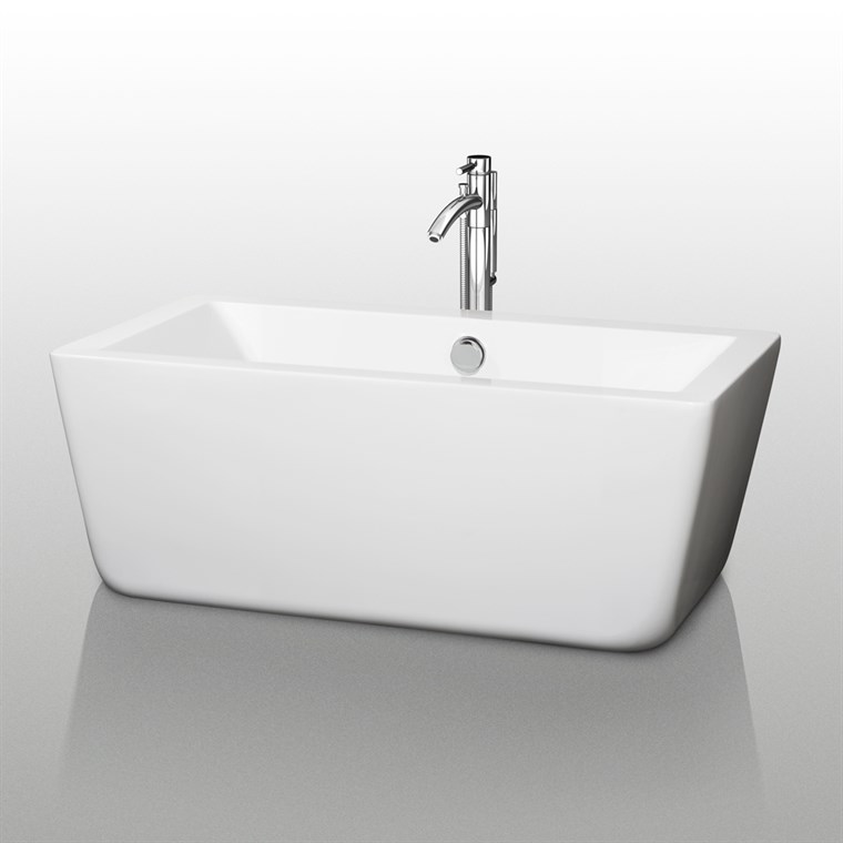 "Laura 59"" Small Soaking Bathtub by Wyndham Collection - White COPY WC-BTM1005-59"