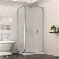 "DreamLine Flex 28-32"" Adjustable W x 32"" D x 74-3/4"" H Frameless Shower Enclosure and Base Kit, Chrome Finish Hardware DL-6714-01CL"