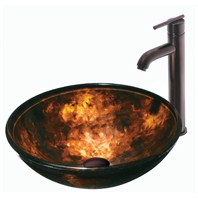 Vigo Industries Brown & Gold Fusion Glass Vessel Sink w/ Vessel Filler