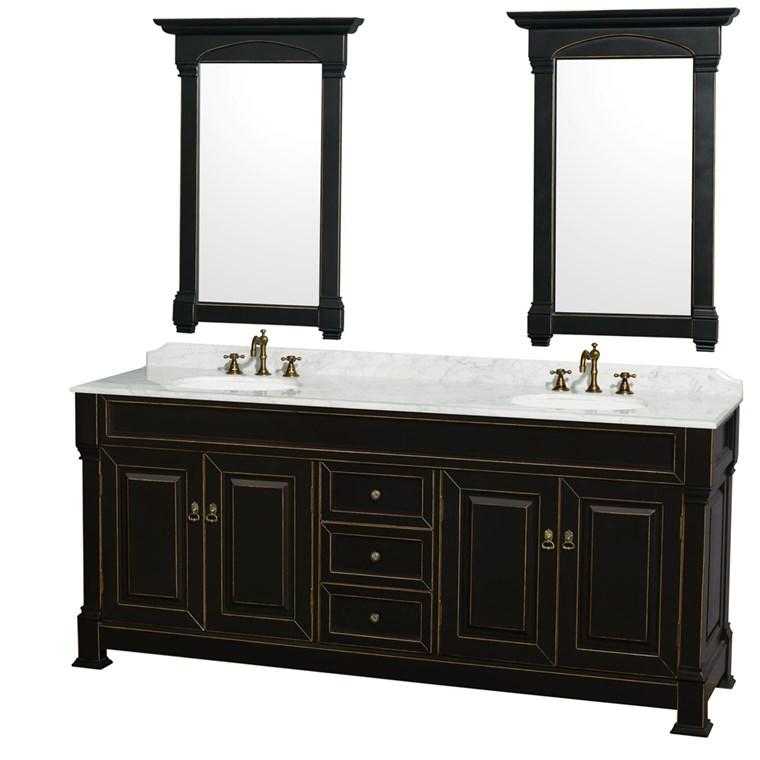 "Andover 80"" Traditional Bathroom Double Vanity Set by Wyndham Collection - Black WC-TD80-DBL-VAN-BLK"