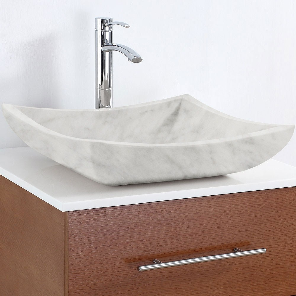 Avalon Vessel Sink by Wyndham Collection - White Carrera Marblenohtin