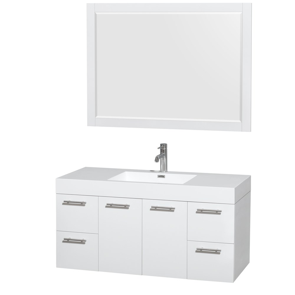 "Amare 48"" Single Bathroom Vanity in Glossy White, Acrylic Resin Countertop, Integrated Sink, and 46"" Mirror WCR410048SGWARINTM46"