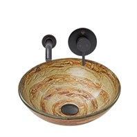 VIGO Mocha Swirl Glass Vessel Sink and Olus Wall Mount Faucet Set in Antique Rubbed Bronze Finish VGT874