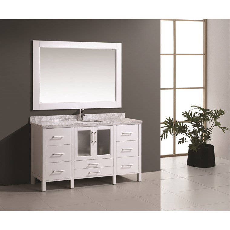 "Design Element Stanton 60"" Single Modern Bathroom Vanity Set - White B60-DS-W"