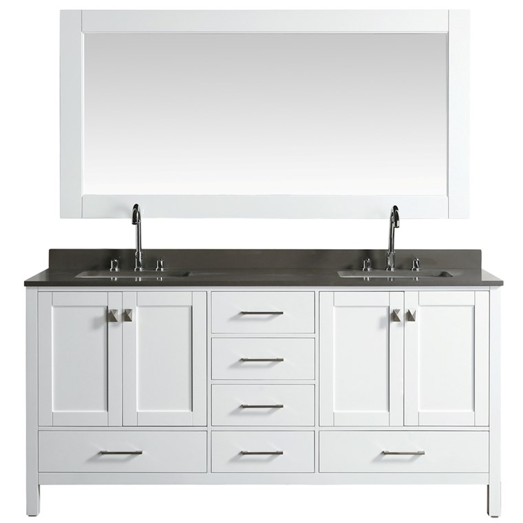 "Design Element London Hyde 72"" Double Sink Vanity - White DEC082B-W-GT"