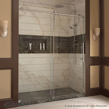 "Bath Authority DreamLine Enigma-Z Fully Frameless Sliding Shower Door, 44 to 48"" SHDR-6248760 by Bath Authority DreamLine"