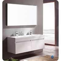 Fresca Largo White Modern Bathroom Vanity with Wavy Double Sinks with Mirror FVN8040WH