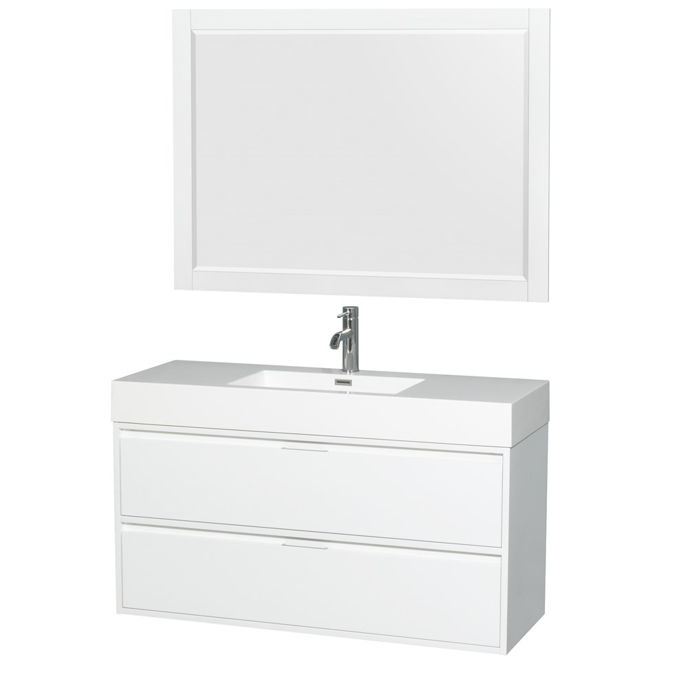 "Daniella 48"" Wall-Mounted Bathroom Vanity Set With Acrylic Resin Countertop, Integrated Sink and 46"" Mirror - Glossy White WCR460048SGWARINTM46"