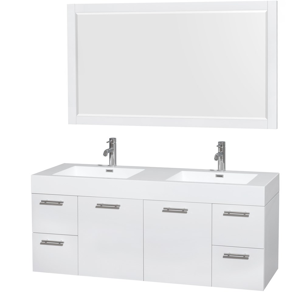 Amare 60 inch Wall Mounted Double Bathroom Vanity Set with Integrated Sinks by Wyndham Collection Glossy White