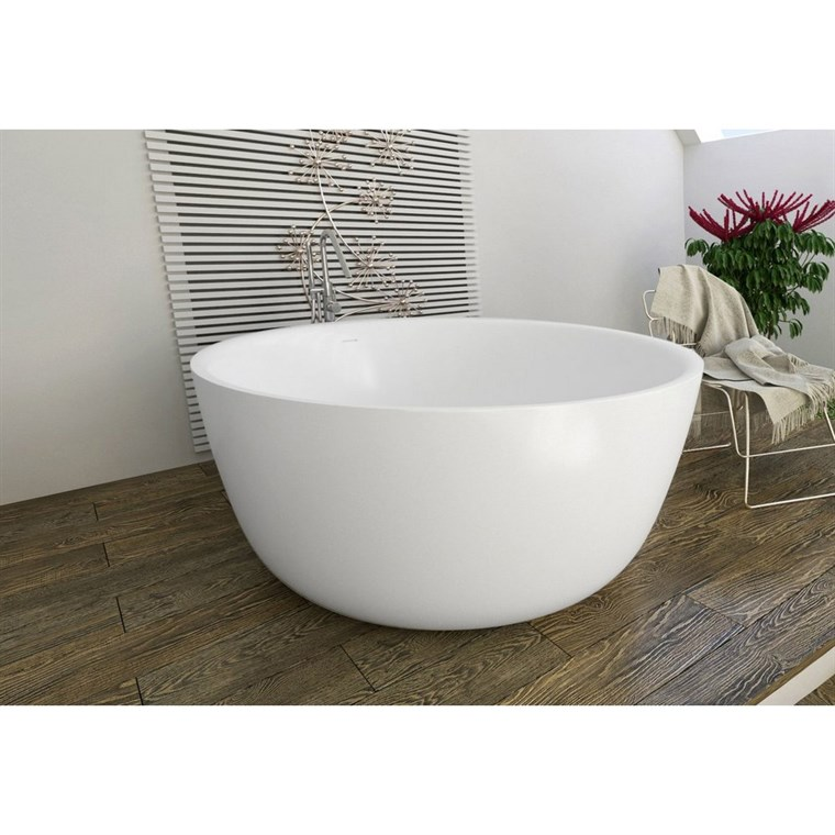 Aquatica PureScape 720M Round Freestanding Solid Surface Bathtub - Matte White Aquatica PS720M-Wht