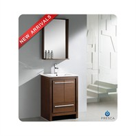 "Fresca Allier 24"" Wenge Brown Modern Bathroom Vanity with Mirror FVN8125WG"