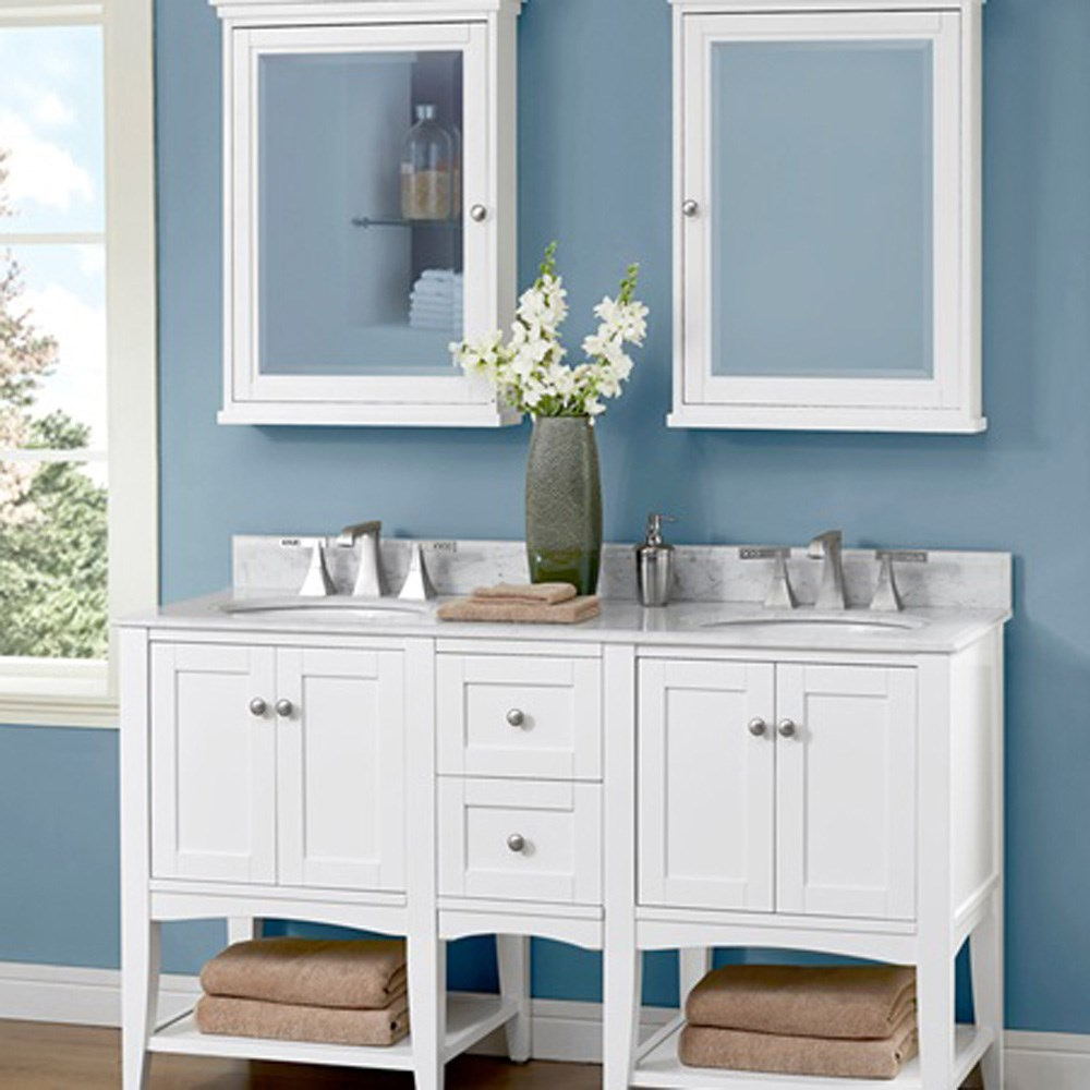 "Fairmont Designs Shaker Americana 60"" Double Vanity - Open Shelf - Polar Whitenohtin Sale $1566.00 SKU: 1512-VH24-X2, 1512-DB12-H- :"