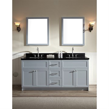 "Ariel Hamlet 73"" Double Sink Vanity Set with Absolute Black Granite Countertop in Grey F073D-AB-GRY by Ariel"