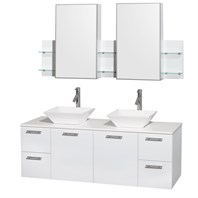 "Amare 60"" Wall-Mounted Double Bathroom Vanity Set with Vessel Sinks by Wyndham Collection - Glossy White WC-R4100-60-WHT-DBL"