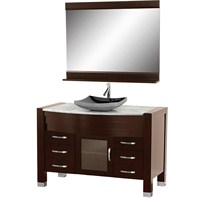 "Daytona 55"" Bathroom Vanity with Mirror - Espresso Finish A-W2109T-55-ESP-WHTCAR"
