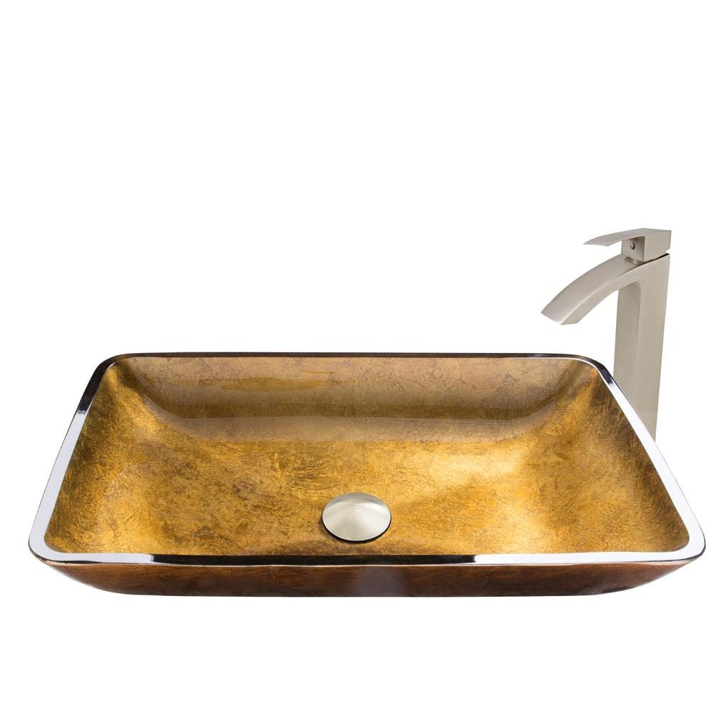 VIGO Rectangular Copper Glass Vessel Sink and Duris Faucet Set in Brushed Nickel Finishnohtin Sale $255.90 SKU: VGT513 :