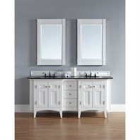 "James Martin 72"" North Hampton Double Vanity with Absolute Black Top - White 900-V72-PWH-ABK"