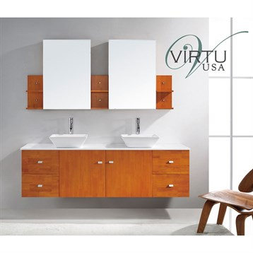 Bathroom Vanities Orange County on Clarissa 72  Double Sink Bathroom Vanity   Honey Oak   Free Shipping