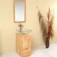 Fresca Brilliante Natural Wood Modern Bathroom Vanity with Mirror FVN6117NW
