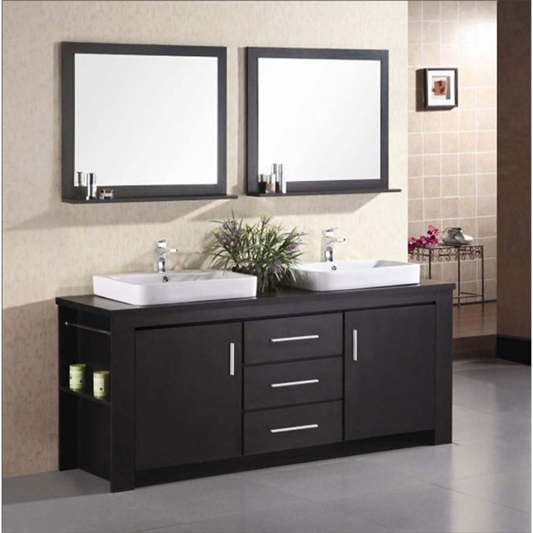 "Design Element Washington 72"" Double Bathroom Vanity Set - Espresso DEC083D"