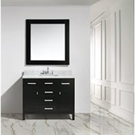 "Design Element London 42"" Bathroom Vanity with White Carrara Marble Countertop, Porcelain Sink and Mirror - Espresso DEC076F"