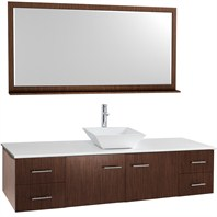 "Bianca 72"" Wall-Mounted Single Bathroom Vanity - Zebrawood WHE007-72-ZEBRA-SGL"