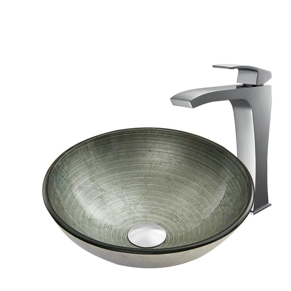 VIGO Simply Silver Glass Vessel Sink and Blackstonian Faucet Set in Chromenohtin Sale $255.90 SKU: VGT840 :