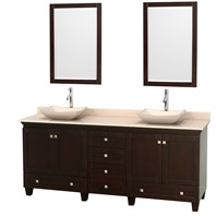 "Acclaim 80"" Double Bathroom Vanity for Vessel Sinks by Wyndham Collection - Espresso WC-CG8000-80-DBL-VAN-ESP"