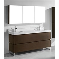 "Madeli Metro 72"" Double Bathroom Vanity for Quartzstone Top - Walnut B600-72D-001-WA-QUARTZ"