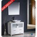"Fresca Torino 36"" White Modern Bathroom Vanity with Vessel Sink and Mirror FVN6236WH-VSL"