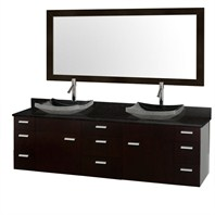 "Encore 78"" Double Bathroom Vanity Set - Espresso with Black Granite Counter and Vessel Sinks CG4000-78-ESP-OM-BLK"