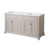 "Stufurhome Arianny 59"" Double Sink Bathroom Vanity with White Quartz Top - Grey TY-7340-59-QZ"