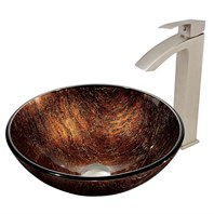 VIGO Kenyan Twilight Glass Vessel Sink and Duris Faucet Set in Brushed Nickel Finish VGT397