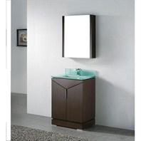 "Madeli Savona 24"" Bathroom Vanity with Glass Basin - Walnut B925-24-001-WA-GLASS"