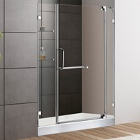 "VIGO 48-inch Frameless Shower Door 3/8"" Clear Glass Chrome Hardware with White Base VG6042CHCL48WM"