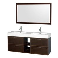 "Daniella 60"" Wall-Mounted Double Bathroom Vanity Set With Integrated Sinks by Wyndham Collection - Espresso WC-R4600-60-VAN-ESP"