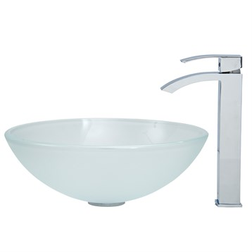 Vigo White Frost Vessel Sink and Square Faucet Set in Chrome VGT265 by Vigo Industries
