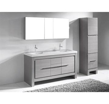 "Madeli Vicenza 60"" Double Bathroom Vanity For X-Stone, Ash Grey B999-60CD-001-AG-XSTONE by Madeli"