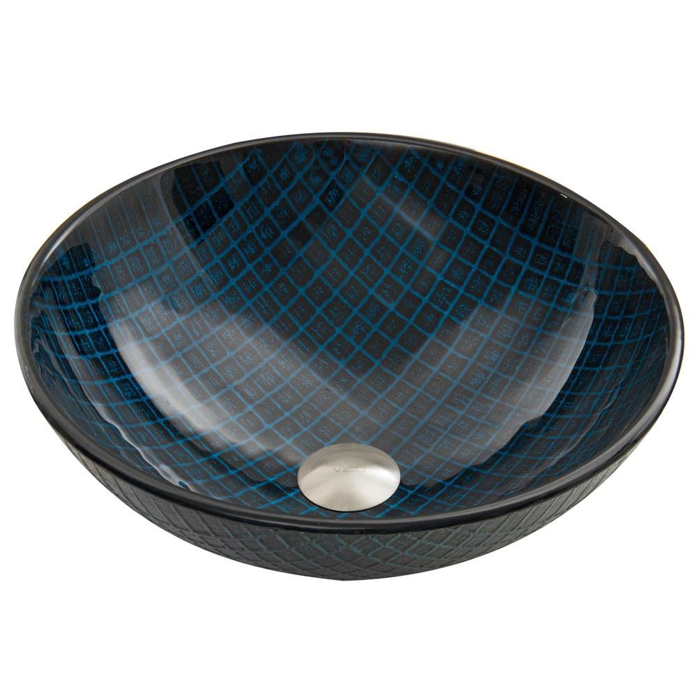VIGO Blue Matrix Glass Vessel Sinknohtin Sale $109.90 SKU: VG07067 :