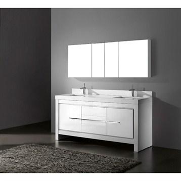"Madeli Vicenza 72"" Double Bathroom Vanity with Quartzstone Top, Glossy White B999-72D-001-GW-QUARTZ by Madeli"