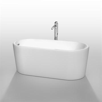 """Ursula 59"""" Soaking Bathtub by Wyndham Collection, White WC-BTK1511-59 by Wyndham Collection®"""