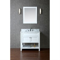 "Seacliff by Ariel Mayfield 36"" Single Sink Vanity Set with Carrera White Marble Countertop - White SCMAY36SWH"