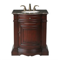 "Stufurhome 30"" Catherine single Sink Vanity with Baltic Brown Granite Top - Cherry GM-3211-30-BB"