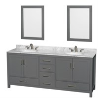 "Sheffield 80"" Double Bathroom Vanity by Wyndham Collection - Dark Gray WC-1414-80-DBL-VAN-DKG"