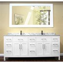 "Design Element London 78"" Modern Double Bathroom Vanity with White Carrera Countertop, Sinks and Mirror - Pearl White DEC088-W"