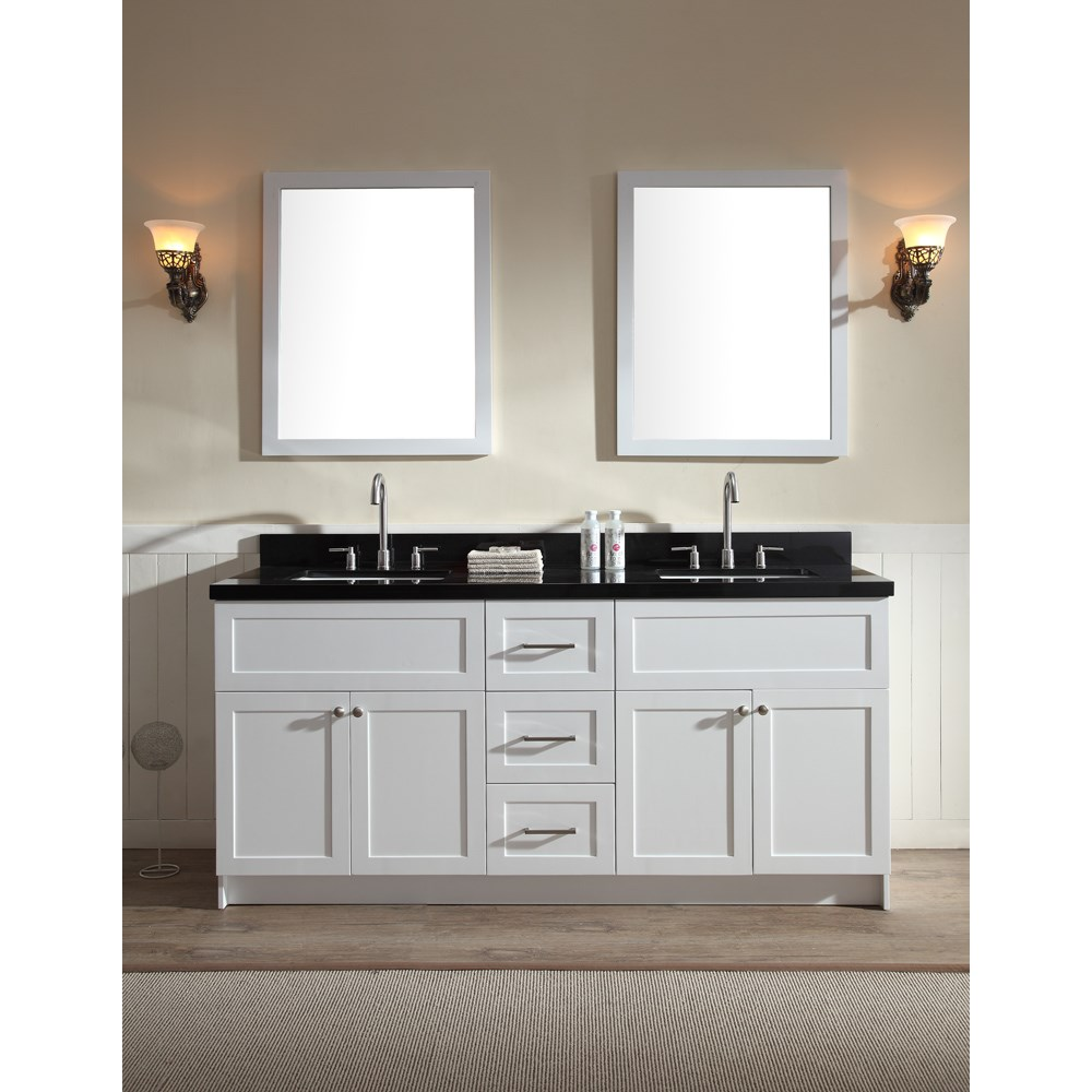 "Ariel Hamlet 73"" Double Sink Vanity Set with Absolute Black Granite Countertop in Whitenohtin Sale $1899.00 SKU: F073D-AB-WHT :"