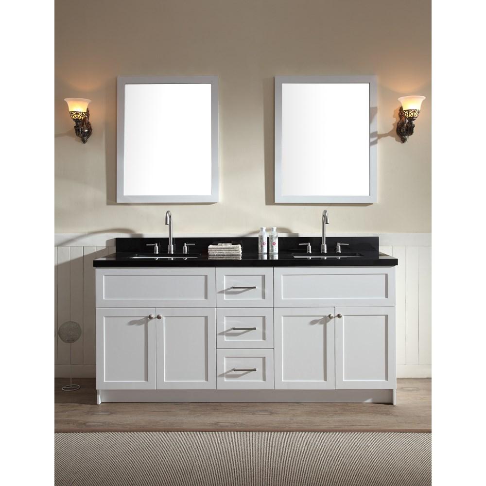 "Ariel Hamlet 73"" Double Sink Vanity Set with Absolute Black Granite Countertop in Whitenohtin Sale $1899.00 SKU: F073D-AB-WHT :"