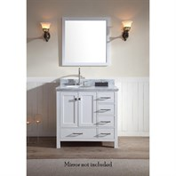"Ariel Cambridge 37"" Single Sink Vanity with Left Offset Sink and Carrara White Marble Countertop - White A037S-L-VO-WHT"