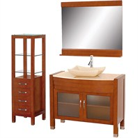 "Daytona 42"" Bathroom Vanity Set - Cherry Finish A-W2109T-42-CH-IVO-SET"